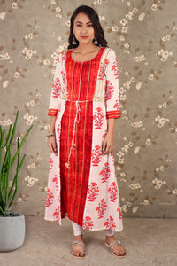 Wonderous Shrug Style Dress In Red & White
