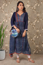 Load image into Gallery viewer, Chanderi Daabu Print Asymmetric Dress