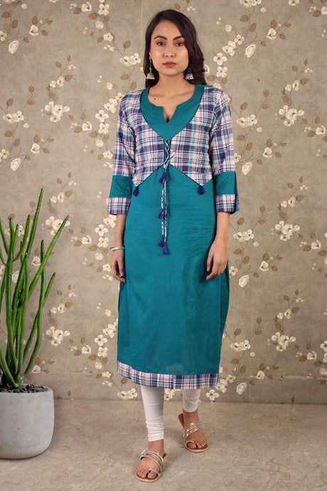 Carribean Blue Kurta With Jacket Look