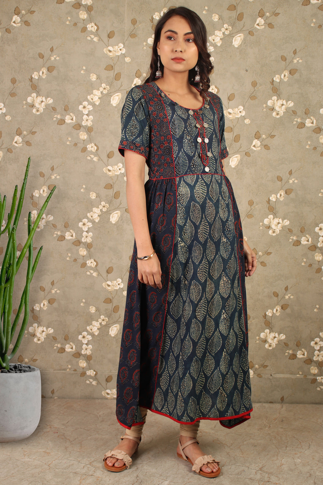 Blue Ajrakh Print Soul Asymmetric Dress