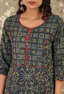The Aegean Blue Ajrakh Print Asymmetric Dress