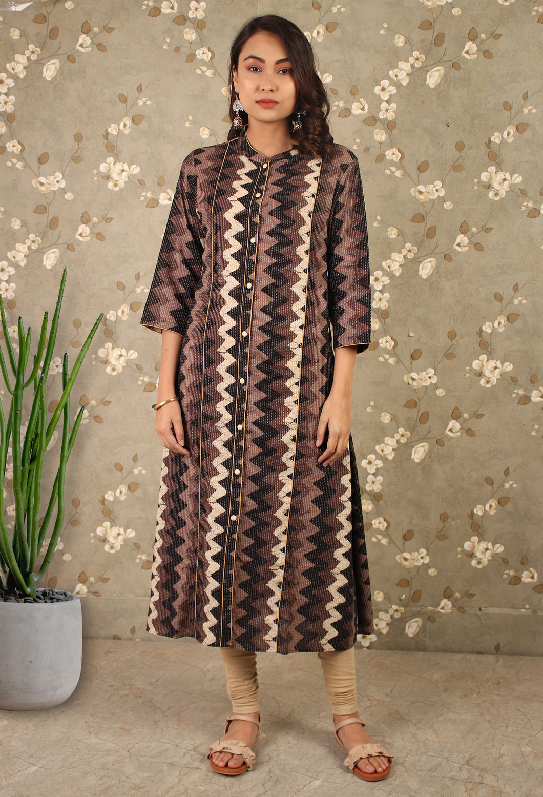 Grey Dabu Print Zigzag Kurta Dress