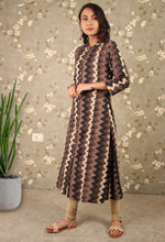 Load image into Gallery viewer, Grey Dabu Print Zigzag Kurta Dress