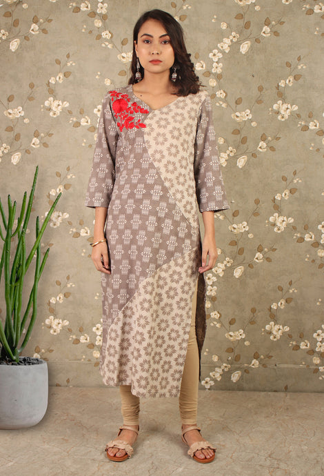 Grey dabu print Floral embroidered kurta