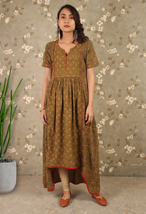The Mehendi Green Ajrakh Print High Low Dress