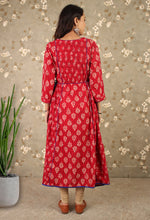Load image into Gallery viewer, Red Block Print Asymmetric Dress