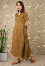 Load image into Gallery viewer, Warm Tan Mirror Work Anarkali Kurti