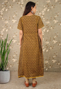 Warm Tan Mirror Work Anarkali Kurti