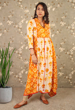 Load image into Gallery viewer, Beige & Orange Printed Asymmetrical Kurti