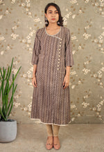 Load image into Gallery viewer, Dark Grey Printed Angrakha Kurti