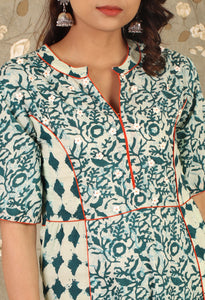 Teal Colour Printed Asymmetrical Kurti