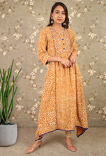 Load image into Gallery viewer, Mustard Yellow Daabu Printed Asymmetrical Kurti