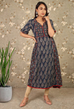 Load image into Gallery viewer, Blue Ajrakh Printed Sequins Work Anarkali Kurti