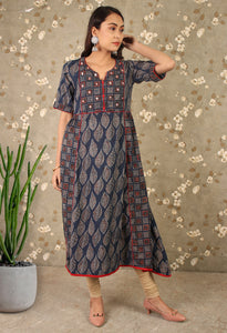 Blue Ajrakh Printed Sequins Work Anarkali Kurti