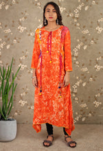 Load image into Gallery viewer, Orange Printed Asymmetrical Kurti