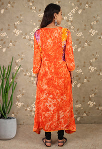 Orange Printed Asymmetrical Kurti