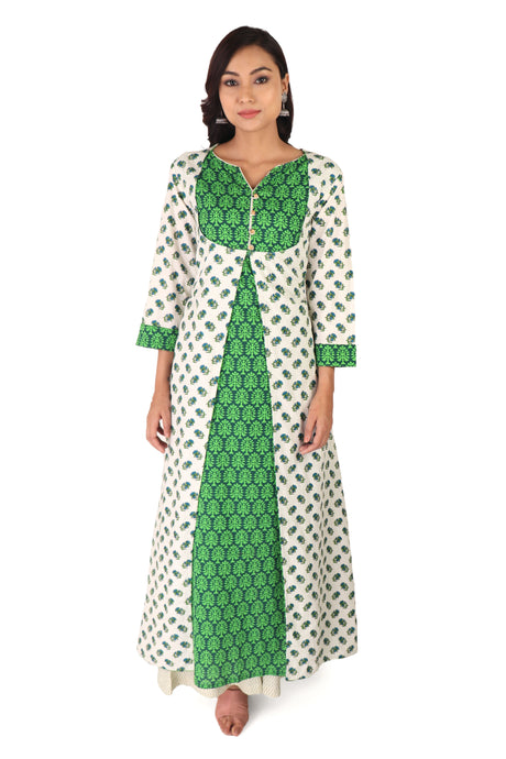 Green Block Print Kurta