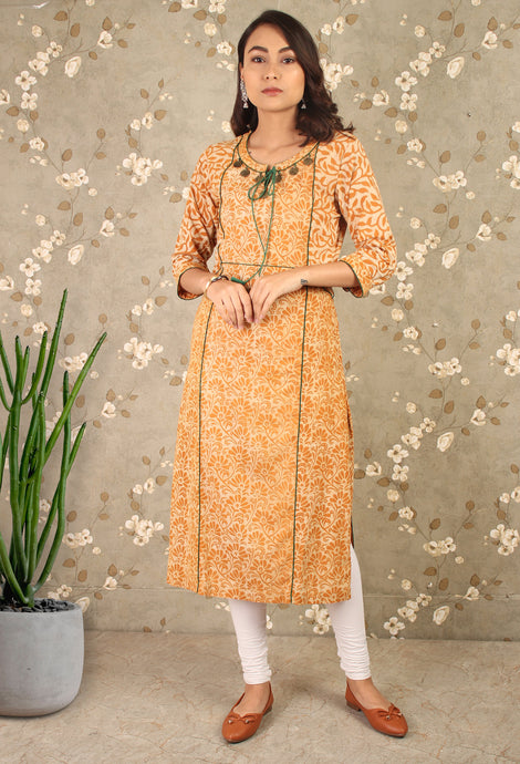 Yellow Floral Straight Kurti