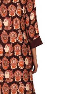 Brown Kalamkari Jacket Style Kurta Palazzo Set