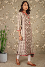 Load image into Gallery viewer, Grey Daabu Print Mandarin Collared Asymmetrical Kurti