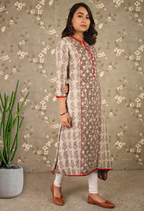 Grey Daabu Print Mandarin Collared Asymmetrical Kurti