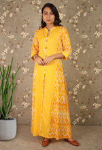 Load image into Gallery viewer, Yellow Printed Front Slit Long Kurti