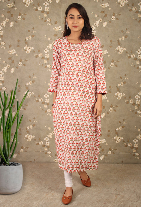 White & Red Block print Long Kurti