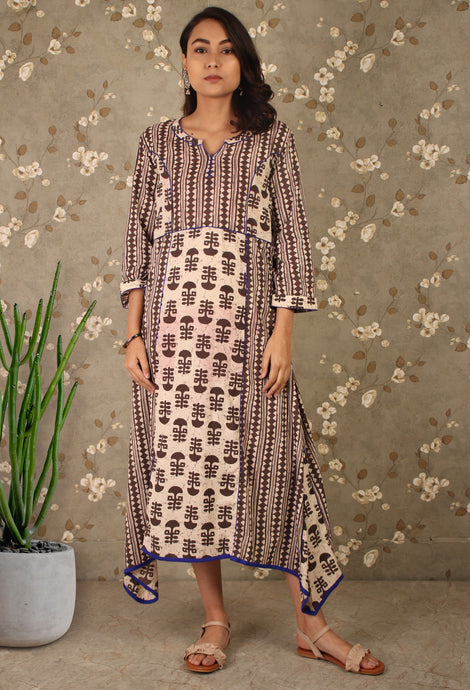 Grey Block Printed Asymmetrical Kurti