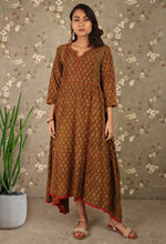Load image into Gallery viewer, Brown Ajrakh Print Asymmetrical Kurti