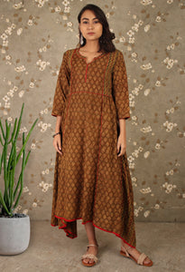 Brown Ajrakh Print Asymmetrical Kurti