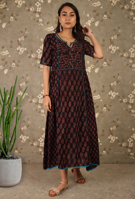 Dark Brown Ajrakh Print Kurti