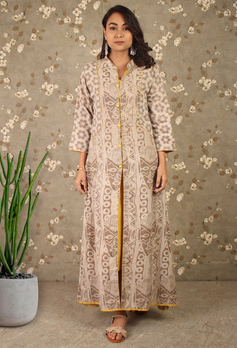 Grey & Yellow Tribal Printed 2 Piece Kurti Set