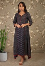 Load image into Gallery viewer, Blue Ajrakh Printed Anarkali Kurti