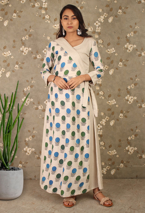 Off White Contemporary Angrakha Kurti