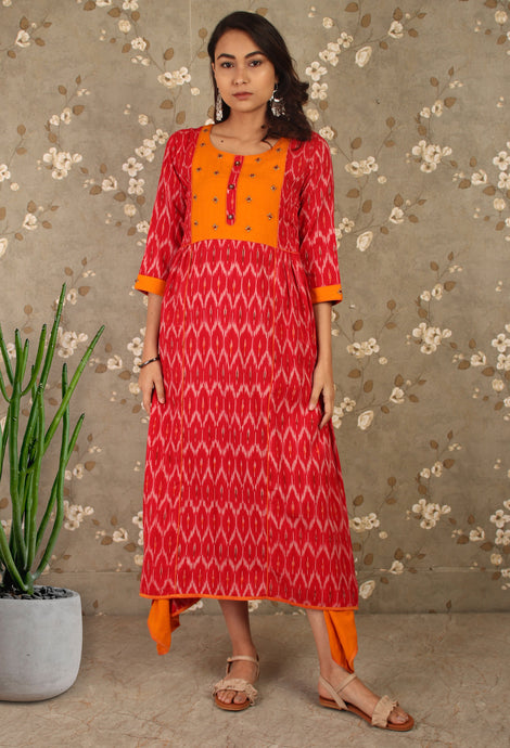 Red & Orange Ikkat Asymmetrical Kurti