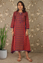Load image into Gallery viewer, Red & Blue Block print Asymmetrical Kurti