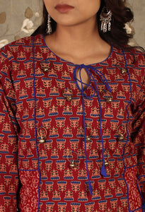 Red & Blue Block print Asymmetrical Kurti