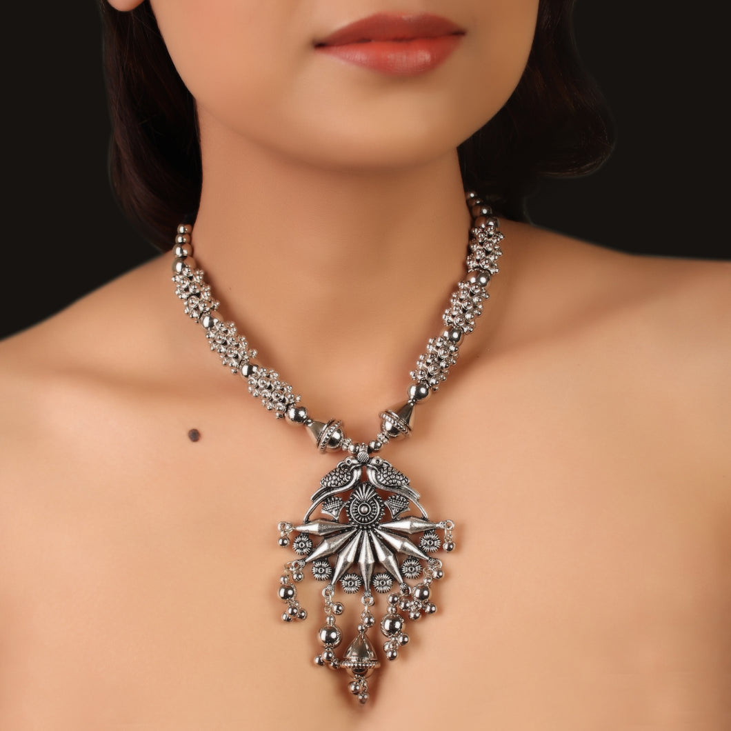 The Panchi Silver Statement Necklace