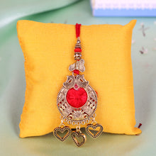 Load image into Gallery viewer, Rakhi and Lumba Set - Red and Golden Exclusive Design