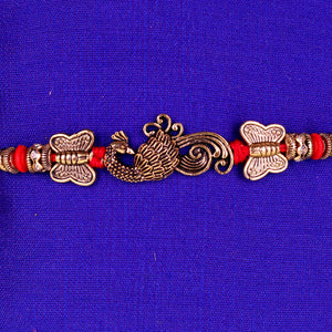 Rakhi and Lumba Set - Red and Golden Exclusive Design
