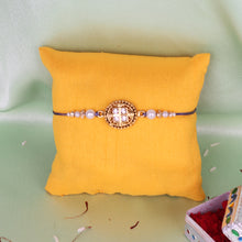 Load image into Gallery viewer, Golden Stone Embellished Oval Rakhi