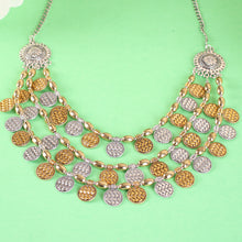 Load image into Gallery viewer, Gold & Silver Tone Multi-layered Statement Necklace