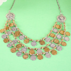 Gold & Silver Tone Multi-layered Statement Necklace