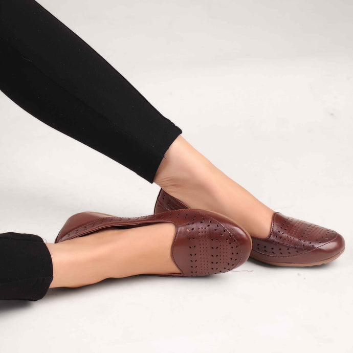 The Modish Laser Cut Bellies in Brown