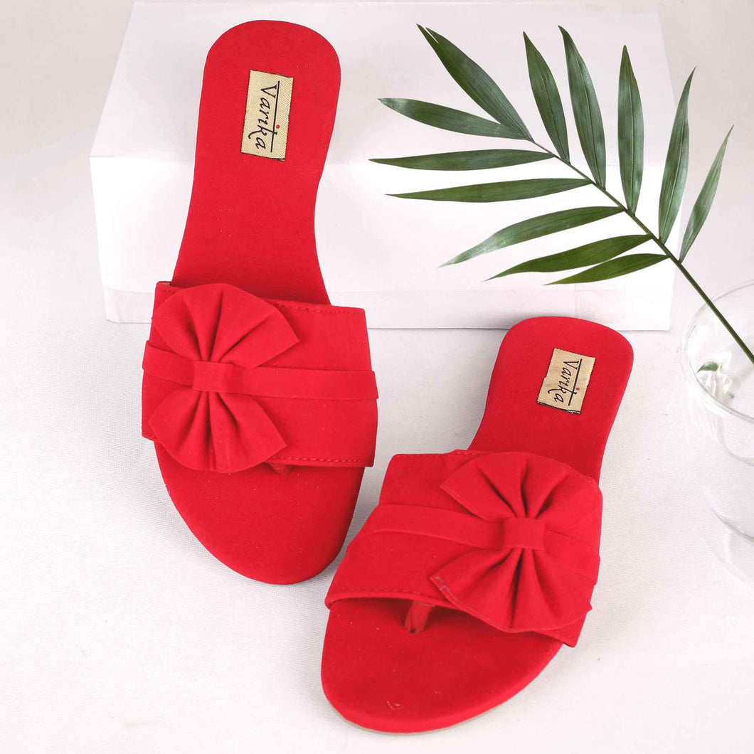 The Mega Bow Slide Sandals in Red