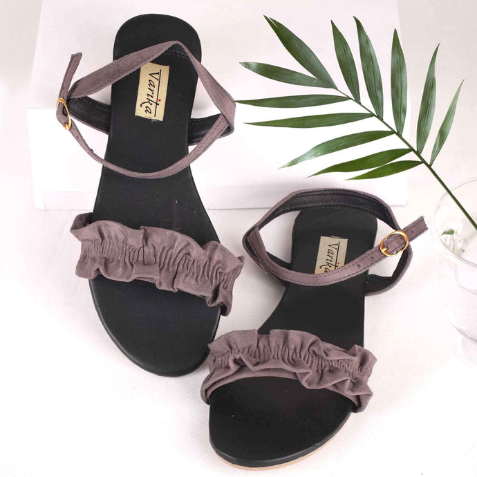 Scrunchy Fabric Flats With Ankle Strap on  Grey