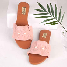 Load image into Gallery viewer, Kissing Thy Feet Fabric Flats on Blush Pink