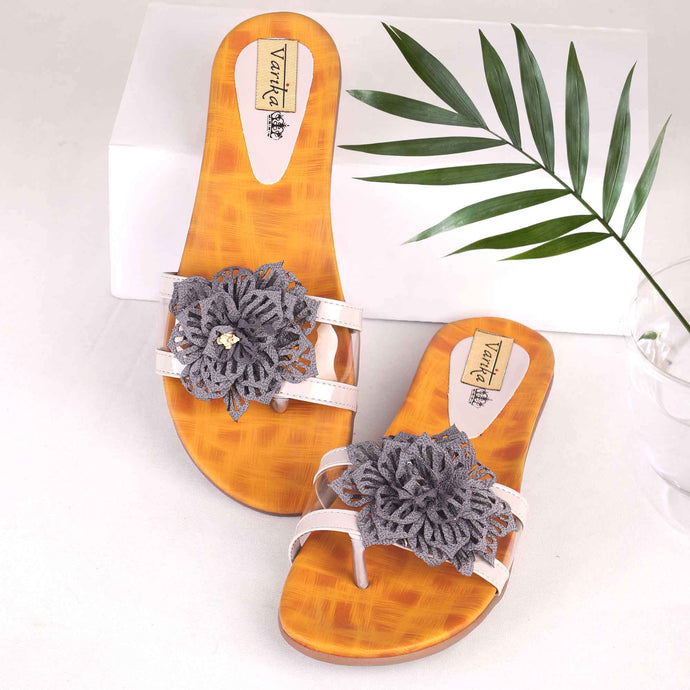 The Blooming Flower Flats Grey With Yellow Base