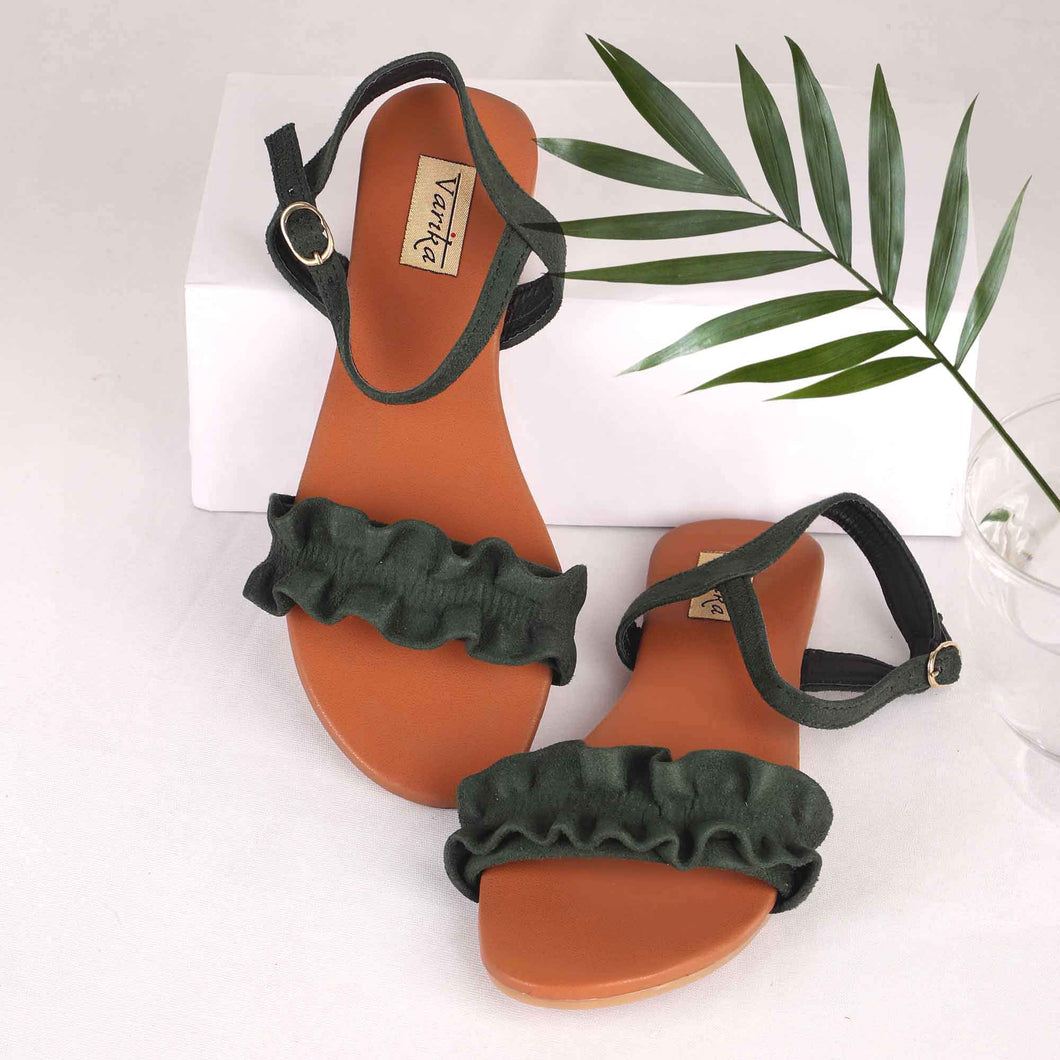 Scrunchy Fabric Flats With Ankle Strap on Deep Green