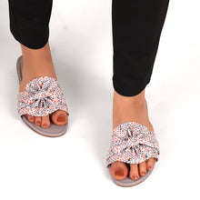 Load image into Gallery viewer, Bonita Fabric Flats With Floral Print In Grey